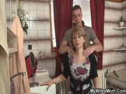 Mom boobs pressing son